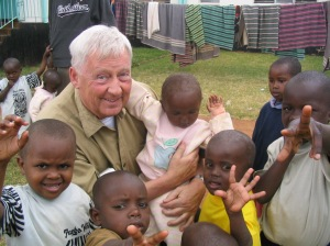 Doug with kids from Nairobi Children's Home - the first organization supported by Our Kenyan Kids